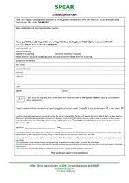 Pdf Standing Order Form 20141 Spear London