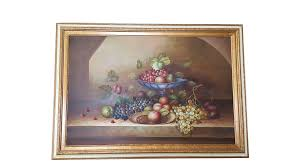 Large Still Life Oil Painting on Canvas Signed M. Aaron | Chairish