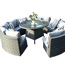 outdoor wood dining tables for round rattan outdoor patio garden furniture dining table sofa set grey