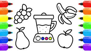 Coloring Book And Drawing For Kids How To Draw Juicer And Fruit For