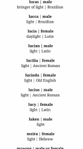 Female Names Meaning Light Names Meaning Light Names With Meaning Character Names