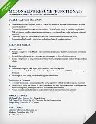 Resume Career Summary Example Mcdonalds Shift Manager Functional ...