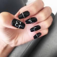 Materiales para u as acrilicas. Unas Acrilico Negras Con Azules Unas Acrilicas