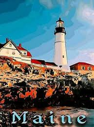 Wall decor for style lovers. Maine Lighthouse United States Retro Travel Home Wall Decor Art Poster Print Ebay