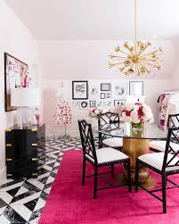 black and white home office. Feminine Pink And White Home Office Boasts Black Bamboo Chairs Seated Around A Center Entry Table Gold Positioned On Lulu \u0026 Georgia Ohio Magenta Rug