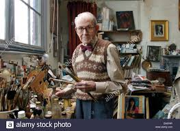 fl artist and portrait painter albert williams in his studio above his home in hove albert has been painting for over 50 years