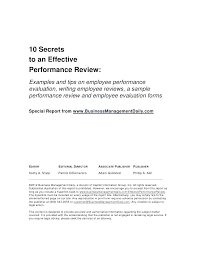 Employee Poor Performance Review Examples Letter Sample