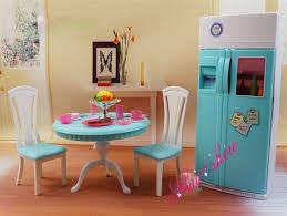 dollhouse dining room furniture. Dinner Tea Table Chair Refrigerator Set / Dollhouse Dining Room Furniture Accessories Decoration For Barbie Kurhn