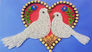 making beautiful love birds paper quilling art