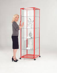 glass display case. Shield Glazed Tower Unit Floor Standing Lockable Glass Display Cabinet Available In 4 Colours Case