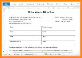 Used Car Bill Of Sale Word Receipt Document Stationery Bills Private