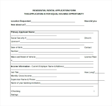 Basic Rental Application Form Format Free Agreements Residential ...