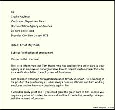 Sample Of Letter Of Employment Verification 15 Employment Verification Letter Template Resume Statement