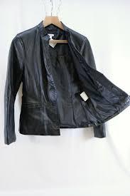 womens edina ronay london black leather jacket size 12 m 2 open full size image