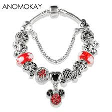 New Arrival Mickey <b>Minnie</b> Crystal Charm Pan Bracelet <b>Red</b> Murano ...