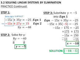 18 3 2 solving linear systems by elimination practice continued same signs subtract