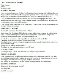 Care Coordinator Cover Letter Care Coordinator Cv Example Icover Org Uk