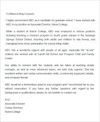 Letter Of Recommendation Coworker Teacher Free 45 Sample Letters Of Recommendation For Graduate