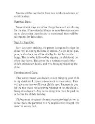 Two Weeks Notice Letter For Daycare Daycare 2 Week Notice Letter Sample Cover For Resignation