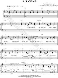 all of me sheet music piano easy
