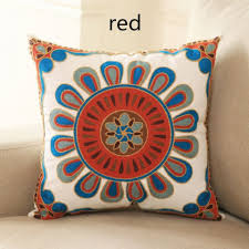 Small Picture Stylish flower embroidered pillow for home decor 18 inch cushions