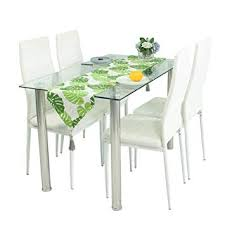 modern dining room tables and chairs.  Room Glass Dining Table Set And 4 White Faux Leather Thick Foam Ribbed High Back  Chairs In Modern Room Tables And G
