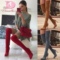 salu large size 33 43 sexy pointed toe shoes woman fashion over the knee boots thin high heels party long 2018