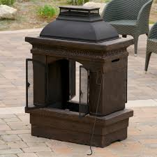 dact with large clay chiminea outdoor fireplace