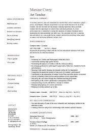 Resume Examples For Teaching Art Teacher Resume Example Template