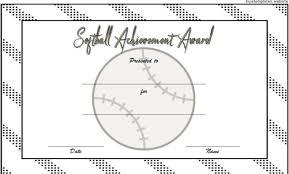 softball award certificate softball awards certificates award certificate template baseball