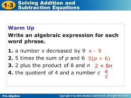 1 3 solving addition and subtraction equations warm up