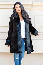 black fox persian lamb tuxedo faux fur coat 4