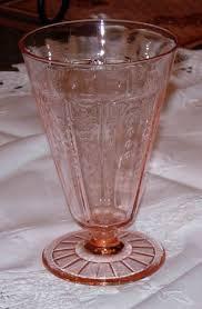 princess depression glass pink footed tumbler
