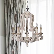 parrot uncle antique wooden candle style chandelier with distressed antique white finish by parrotuncle on dot bo