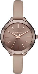 women s michael kors slim runway leather strap watch mk2631 loading zoom
