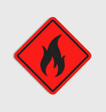 hazard warning sign flammeble fire in red vector