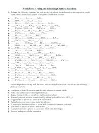 worksheet writing and balancing chemical reactions answer equations practice complete answers a practicing equation chemistry writi