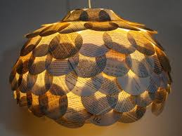 Round Flat Mixed Book Page Pendant Light Paper by