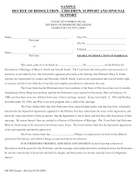 Examples Of Divorce Papers Sample Divorce Paper Cityesporaco 1
