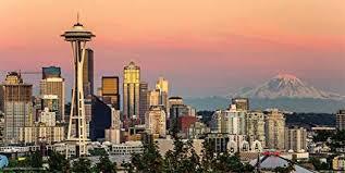 Seattle Cityscape Seattle Washington Sunset Skyline Decorative City Travel Photography Print Unframed 12x24 Poster