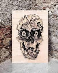 sugar skull wall art cassette wood print on vinyl big metal
