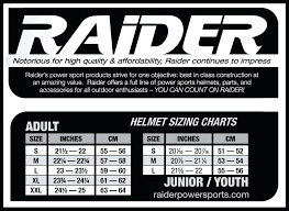 Raider Youth Helmet Sizing Chart 45 Inquisitive Four Wheeler Helmet Size Chart