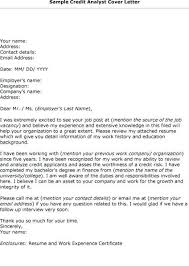 Analyst Cover Letter Sample Credit Analyst Cover Letter Sample