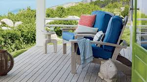 furniture for porch. Adirondacks Adorned In Big Blue Cushions Make For An Inviting Spot To Enjoy Morning Coffee Or Furniture Porch E