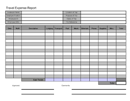 Travel And Expenses Free Printable Travel Expense Report