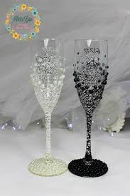 Personalized Wedding Champagne Glasses In Ivory Black Hand Painted Hand Painted Wedding Glasses