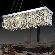 Siljoy Modern K9 Crystal Pendant Chandelier Lighting Rectangular Ceiling Light Fixture For Dining Room Kitchen Island