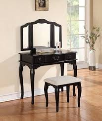 mirror vanity table. poundex bobkona susana tri-fold mirror vanity table with stool set, black