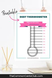 Debt Free Charts Printable Free Debt Thermometer Printable Pdf The Common Cents Club