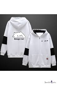 Bongo Shorts Size Chart Letter Bongo Cat Cartoon Printed Color Block Two Tone Zip Up Cotton Hoodie